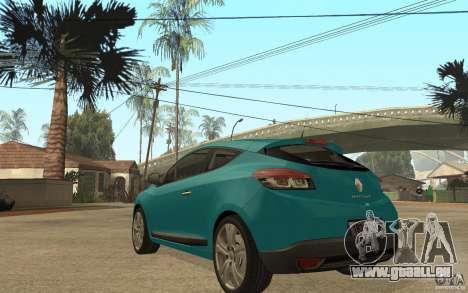Renault Megane 3 Coupe pour GTA San Andreas sur la vue arrière gauche