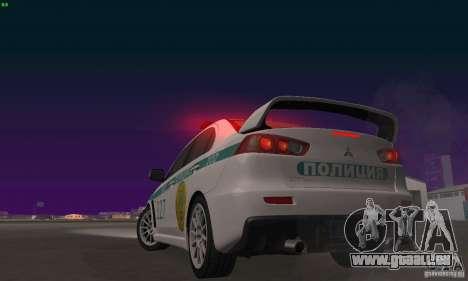 Mitsubishi Lancer Evolution X Polizei von Kasach für GTA San Andreas Seitenansicht