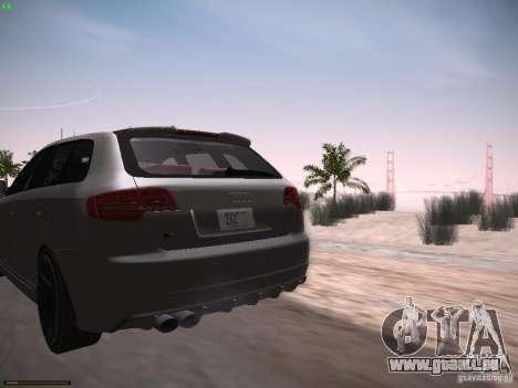Audi RS3 2011 pour GTA San Andreas sur la vue arrière gauche