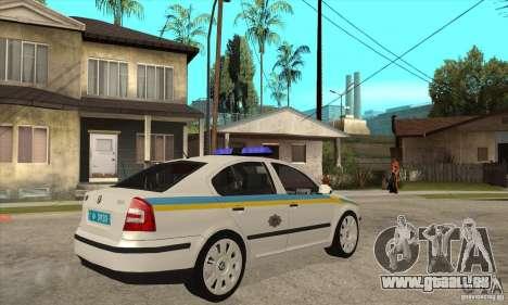 Skoda Octavia II ukrainien TRAFFIC POLICE pour GTA San Andreas laissé vue