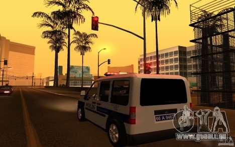 Ford Transit Connect Turkish Police pour GTA San Andreas sur la vue arrière gauche