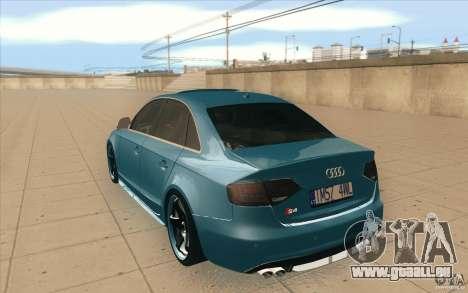 Audi S4 2009 pour GTA San Andreas sur la vue arrière gauche