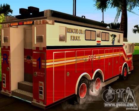 Pumper Firetruck Pierce F.D.N.Y pour GTA San Andreas laissé vue
