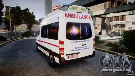 Mercedes-Benz Sprinter Iranian Ambulance [ELS] pour GTA 4 Vue arrière de la gauche