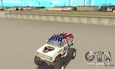Chevrolet Blazer K5 Monster Skin 7 pour GTA San Andreas laissé vue