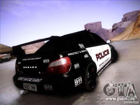 Subaru Impreza WRX STI Police Speed Enforcement pour GTA San Andreas vue de dessus
