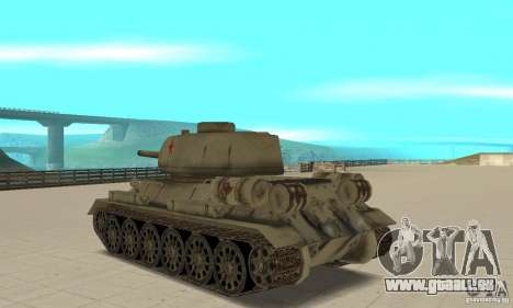 Réservoir T-34-85 pour GTA San Andreas sur la vue arrière gauche