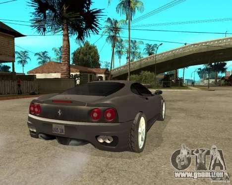 Ferrari 360 modena TUNEABLE für GTA San Andreas zurück linke Ansicht