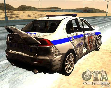 Mitsubishi Lancer Evolution X PPP Police pour GTA San Andreas moteur