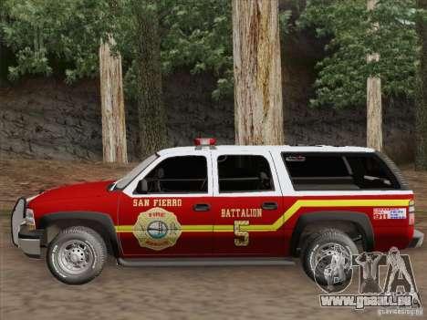 Chevrolet Suburban SFFD pour GTA San Andreas vue intérieure