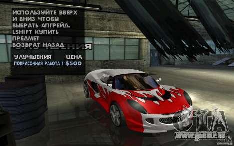 Lotus Elise from NFSMW pour GTA San Andreas vue arrière