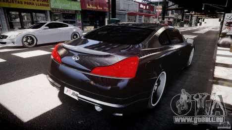 Infiniti G37 Sport 2008 JDM Tune (Beta) pour GTA 4 Vue arrière de la gauche