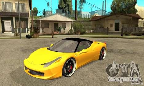 Ferrari 458 Italia custom pour GTA San Andreas