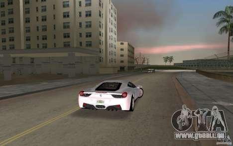 Ferrari 458 Italia pour une vue GTA Vice City de la droite
