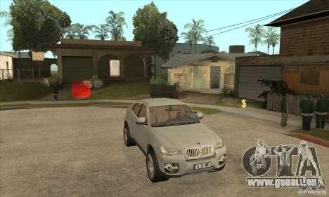 BMW X6 pour GTA San Andreas vue arrière