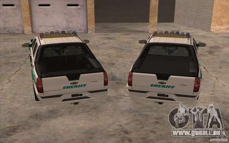 Chevrolet Avalanche Orange County Sheriff für GTA San Andreas Rückansicht