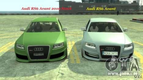 Audi RS6 Avant 2010 Stock für GTA 4 Unteransicht