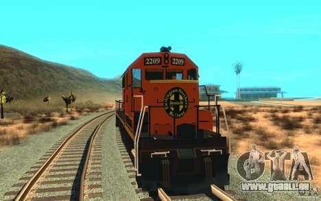 Lokomotive SD 40 Union Pacific BNSF für GTA San Andreas rechten Ansicht