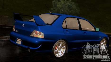 Mitsubishi Lancer Evolution IIIV für GTA San Andreas rechten Ansicht