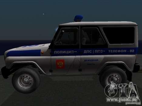 UAZ-315195 Hunter Police pour GTA San Andreas laissé vue