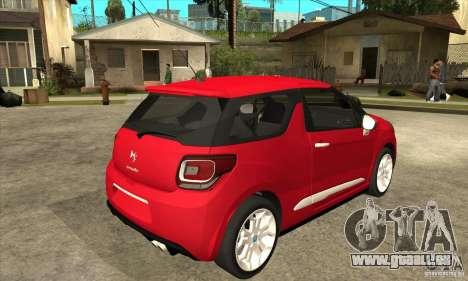 Citroen DS3 2011 pour GTA San Andreas vue de droite