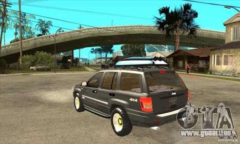 Jeep Grand Cherokee 2005 pour GTA San Andreas sur la vue arrière gauche
