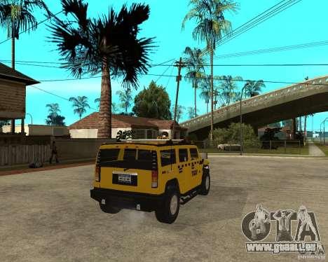 AMG H2 HUMMER TAXI pour GTA San Andreas sur la vue arrière gauche