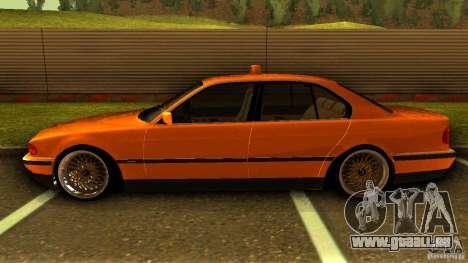BMW 730i Taxi pour GTA San Andreas laissé vue