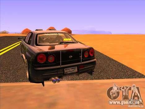 Nissan Skyline R34 Tunable pour GTA San Andreas sur la vue arrière gauche