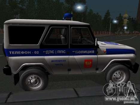 UAZ-315195 Hunter Polizei für GTA San Andreas zurück linke Ansicht
