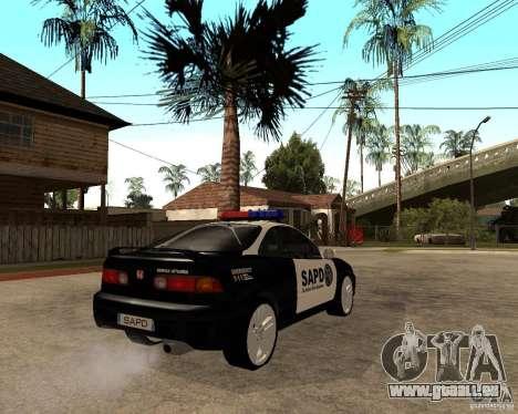 Honda Integra 1996 SA POLICE pour GTA San Andreas vue de droite