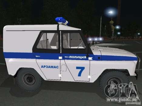 UAZ-31512 Police pour GTA San Andreas vue de droite