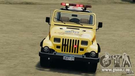 Jeep Wrangler 1988 Beach Patrol v1.1 [ELS] pour GTA 4 est un côté