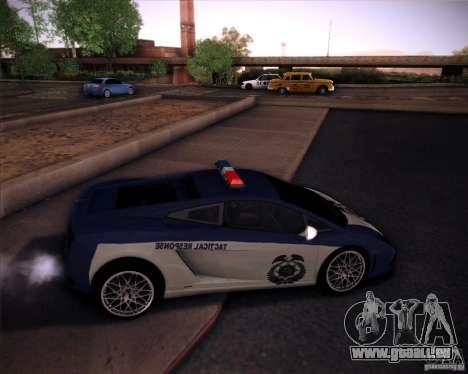 Lamborghini Gallardo LP560-4 Undercover Police pour GTA San Andreas sur la vue arrière gauche