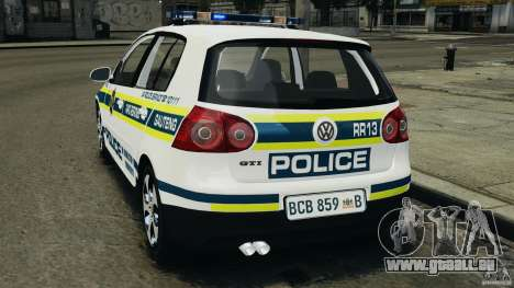 Volkswagen Golf 5 GTI South African Police [ELS] pour GTA 4 est une gauche