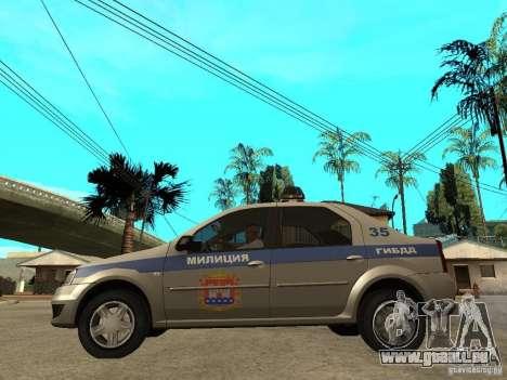 Dacia Logan Police pour GTA San Andreas laissé vue