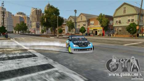 Subaru Impreza WRX STI Rallycross KMC Wheels für GTA 4 hinten links Ansicht