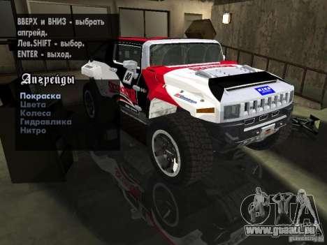 Hummer HX Concept from DiRT 2 pour GTA San Andreas vue de dessus