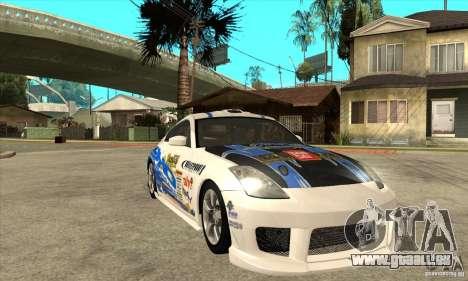 Nissan 350z Stock - Tunable pour GTA San Andreas vue de dessus