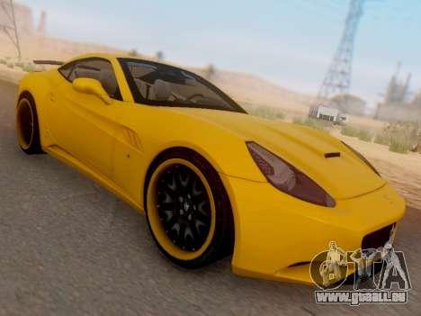 Ferrari California Hamann 2011 pour GTA San Andreas sur la vue arrière gauche