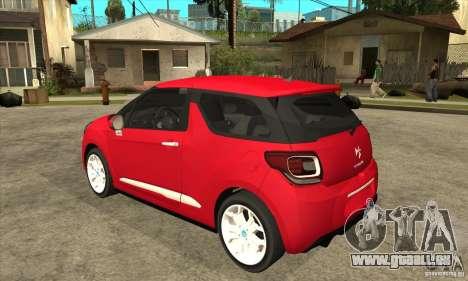 Citroen DS3 2011 pour GTA San Andreas sur la vue arrière gauche