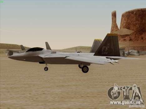 FA22 Raptor pour GTA San Andreas vue de droite