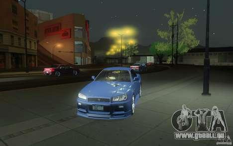 Nissan Skyline GT-R R34 M-spec Nur für GTA San Andreas obere Ansicht