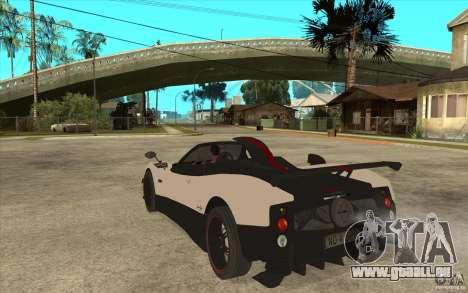 Pagani Zonda Cinque Roadster pour GTA San Andreas sur la vue arrière gauche