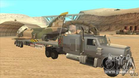 Flatbed trailer with dismantled F-4E Phantom für GTA San Andreas Rückansicht
