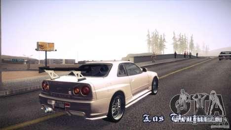 Nissan Skyline R34 pour GTA San Andreas vue de côté