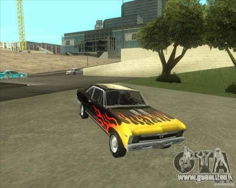 Chevy Nova SS 1969 für GTA San Andreas zurück linke Ansicht