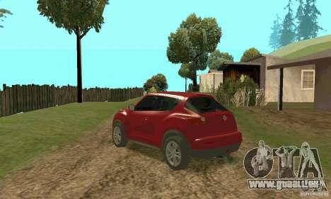 Nissan Juke pour GTA San Andreas sur la vue arrière gauche