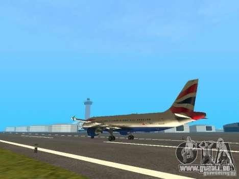 Airbus A320 British Airways für GTA San Andreas zurück linke Ansicht