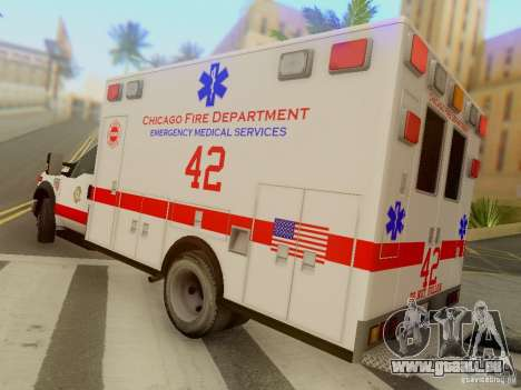 Ford F350 Super Duty Chicago Fire Department EMS für GTA San Andreas zurück linke Ansicht